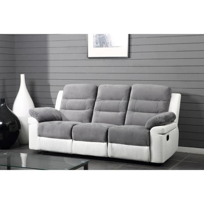 luna canap droit de relaxation en simili et tissu 3 places 210x93x103 cm gris et blanc. Black Bedroom Furniture Sets. Home Design Ideas