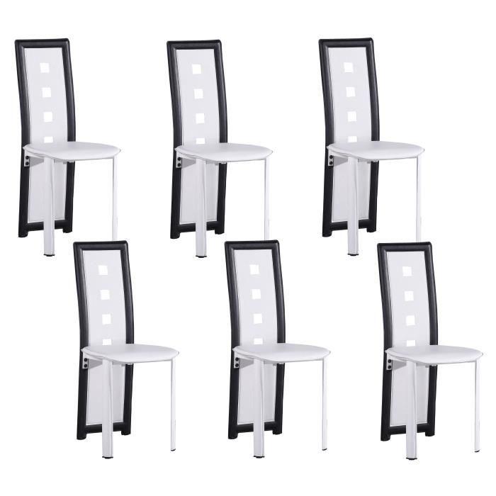 CHAISE KIM Lot De 6 Chaises Salon Noir Blanc