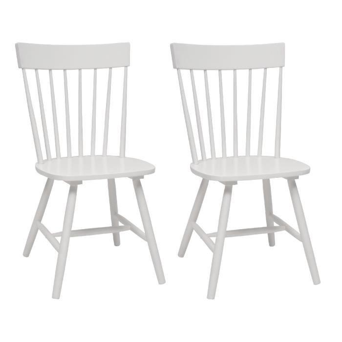 Eton lot de 2 chaises de salle manger bois massif for Chaise de salle a manger bois