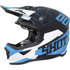 CASQUE MOTO SCOOTER SHOT Casque Cross Furious Spectre Noir Bleu Mat
