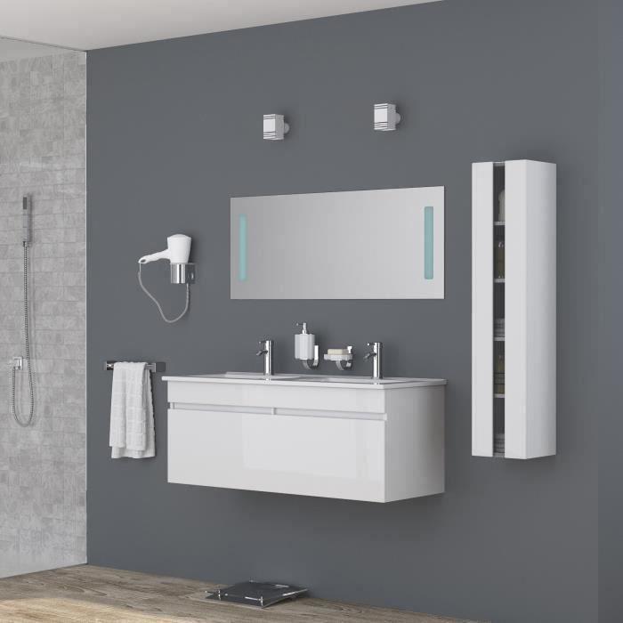 ALBAN Ensemble salle de bain double vasque avec miroir L 120 cm ...