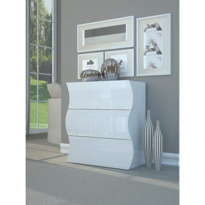 ONDA Commode contemporain - Laqué blanc brillant - L 77 cm - Achat ...