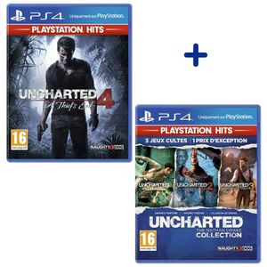 JEU PS4 NOUVEAUTÉ Pack 2 Jeux PS4 PlayStation Hits : Uncharted 4 + U