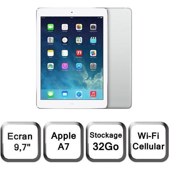 ipad air cellular wi fi argent 32go md795nf b prix pas. Black Bedroom Furniture Sets. Home Design Ideas