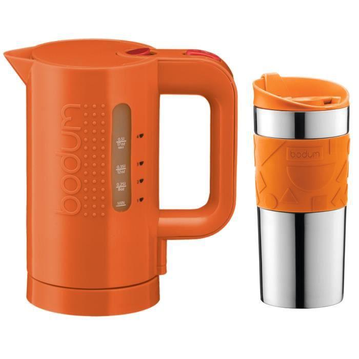 Pack bodum memphis blues orange bouilloire 0 5l 11451 116euro y15 mug de voyage double paroi - Mini bouilloire electrique 0 5 litre ...
