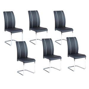 CHAISE INES Lot de 6 chaises de salle à manger noires