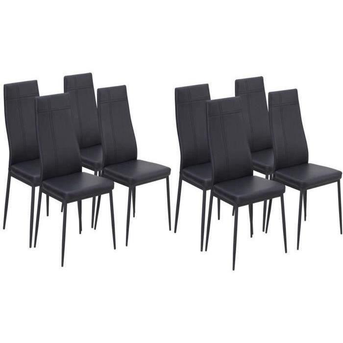 lot de 8 chaises de salle a manger noir - achat / vente lot de 8