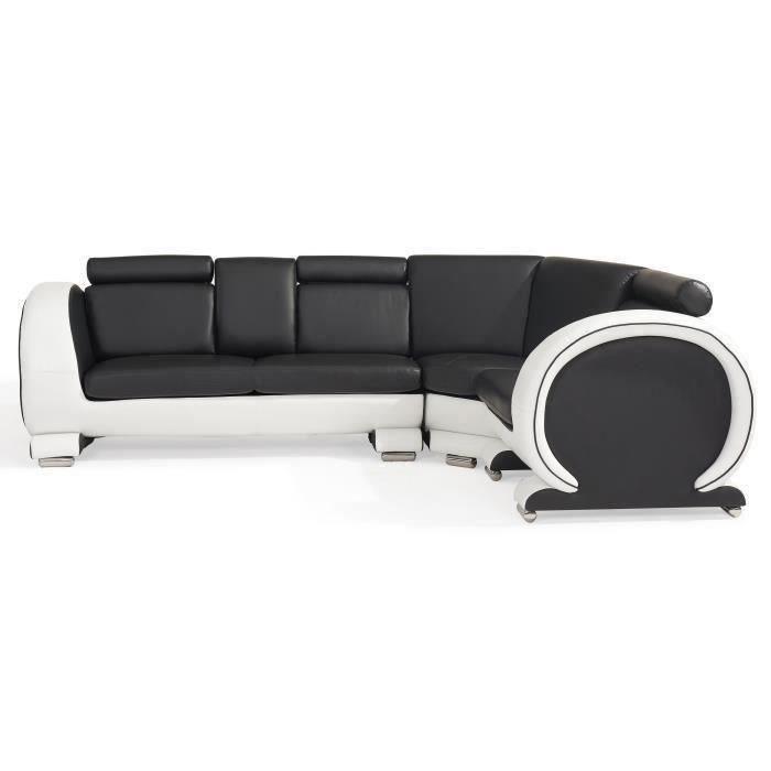 austin canap d 39 angle droit 5 places simili noir et. Black Bedroom Furniture Sets. Home Design Ideas