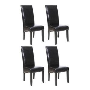 CHAISE CUBA Lot de 4 Chaises de salle à manger Noires