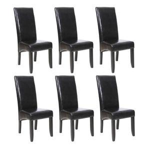 CHAISE CUBA Lot de 6 Chaises de salle à manger Noires