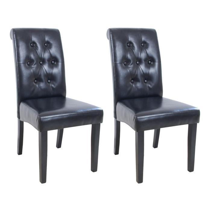 CHAISE CUBA Lot de 2 chaises de salle à manger - Simili n