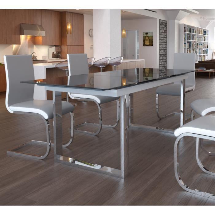 Table à manger seule seattle table extensible 160 200cm verre noir