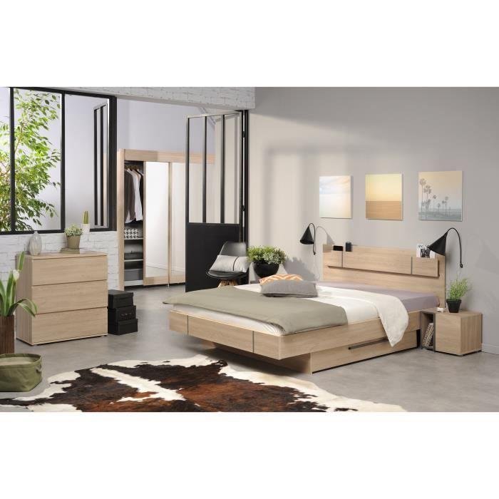 BROOK Chambre adulte complète style contemporain décor chêne ...