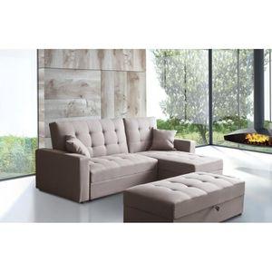 hampton canap d 39 angle r versible convertible 4 places banc tissu gris contemporain l. Black Bedroom Furniture Sets. Home Design Ideas