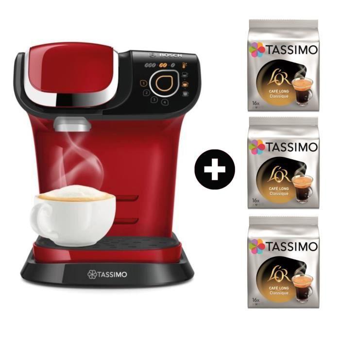 MACHINE À CAFÉ BOSCH TASSIMO My Way TAS6003 - Rouge + 3 paquets T