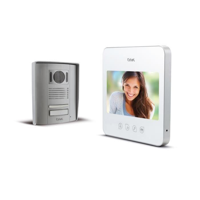 """extel interphone vidéo couleur 2 fils 7"""" pouces à touches"""