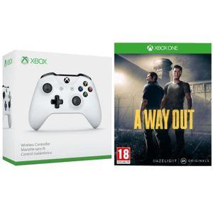 MANETTE JEUX VIDÉO Manette Xbox One sans fil blanche + A Way Out Jeu