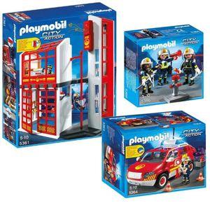 UNIVERS MINIATURE PLAYMOBIL Caserne Pompiers + véhicule avec sirène