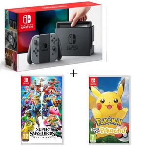 CONSOLE NINTENDO SWITCH Pack Nintendo Switch Grise + Super Smash Bros Ulti