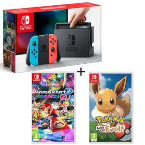 CONSOLE NINTENDO SWITCH Pack Nintendo Switch Néon + Mario Kart 8 Deluxe +