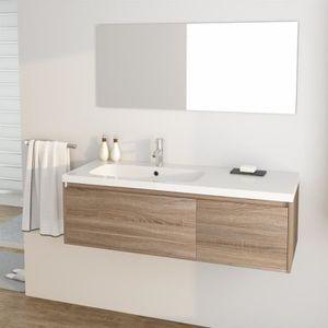 GIRONA Ensemble meubles de salle de bain simple vasque + miroir L 90 ...