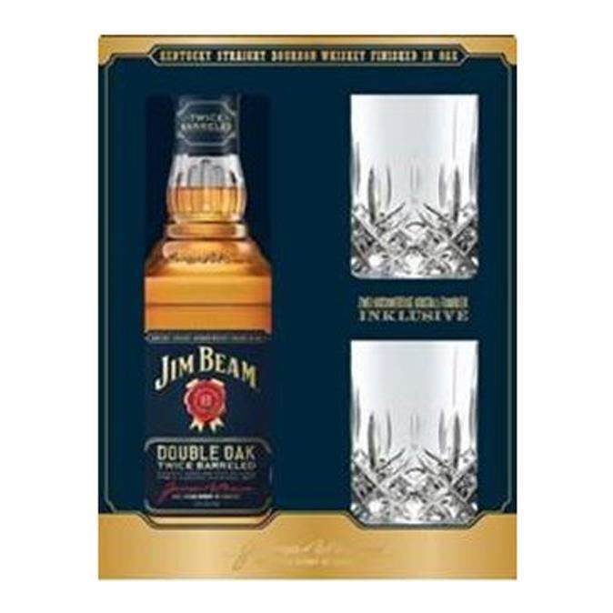 Jim Beam - Double Oak - Whisky - 2 Crystal Tumblers Gift Set - 70 cl