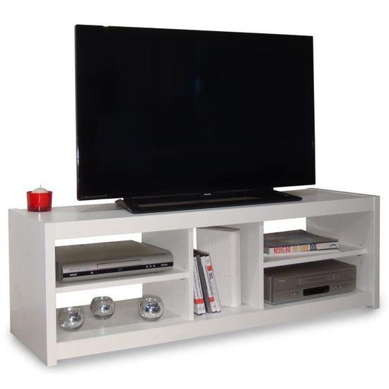 Téo Meuble Tv Contemporain Blanc L 125 Cm Achat Vente Meuble