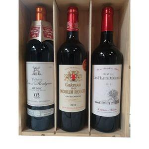 COFFRET CADEAU VIN Coffret bois de 3 bouteilles de vin Médoc 75cl