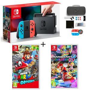 CONSOLE NINTENDO SWITCH Pack Nintendo Switch Néon + Super Mario Odyssey +