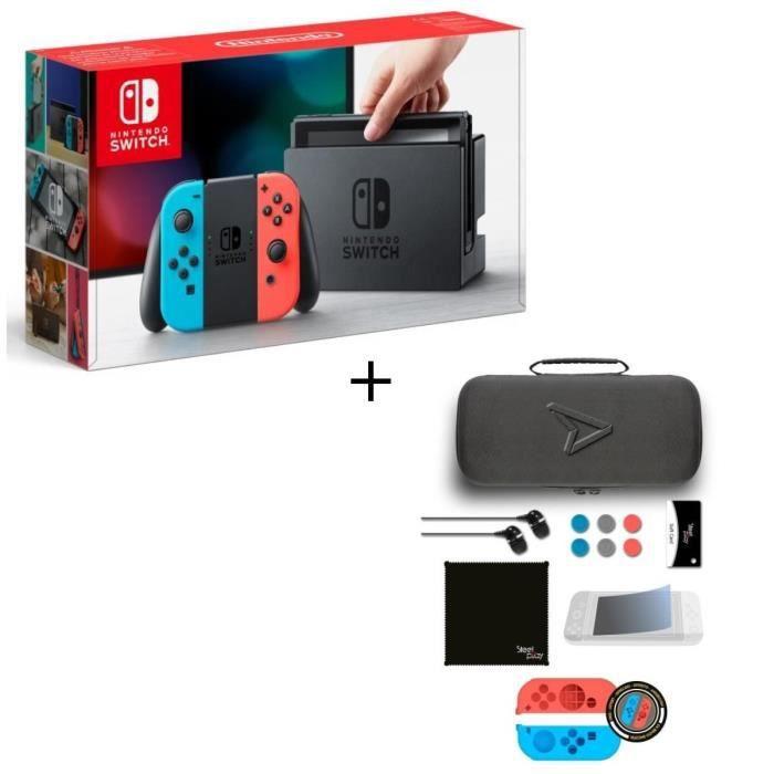 CONSOLE NINTENDO SWITCH Pack Nintendo Switch Néon + Pack d'accessoires Ste