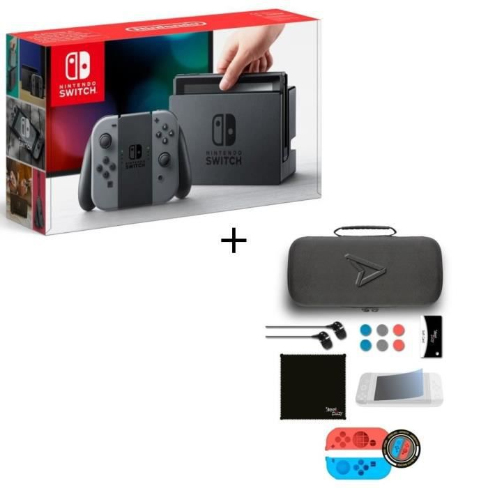 CONSOLE NINTENDO SWITCH Pack Nintendo Switch Grise + Pack d'accessoires St