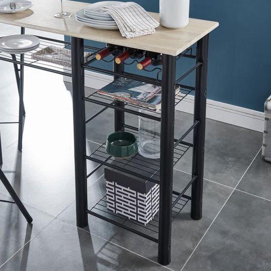 FIRST Ensemble table bar et tabourets contemporain en métal laqué noir et  MDF revêtu de PVC décor chêne mat - L 119 cm - Achat   Vente mange-debout  FIRST ... c3e9dcd5a082