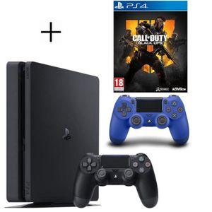 CONSOLE PS4 Pack PS4 500 Go Noire + Manette PS4 DualShock 4 Bl