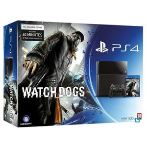 CONSOLE PS4 Pack console PS4 500 Go Noire + WATCH DOGS