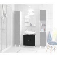 Corail meuble sous lavabo l 60 cm noir laqu achat vente meuble vasque plan meuble sous - Meuble sous lavabo noir ...