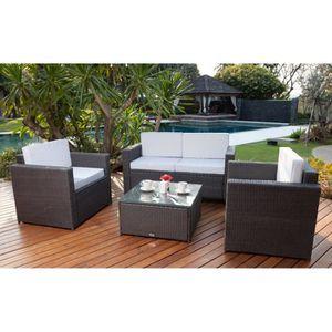 Bali salon de jardin 4 places en r sine tress e et acier gris anthracite - Salon de jardin a prix discount ...