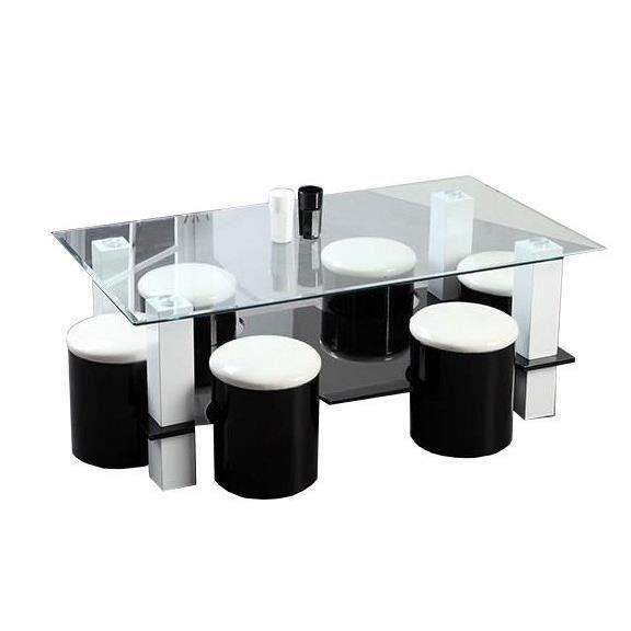 Bodega Table Basse 6 Poufs Contemporain Mdf Noir Et Blanc L 130