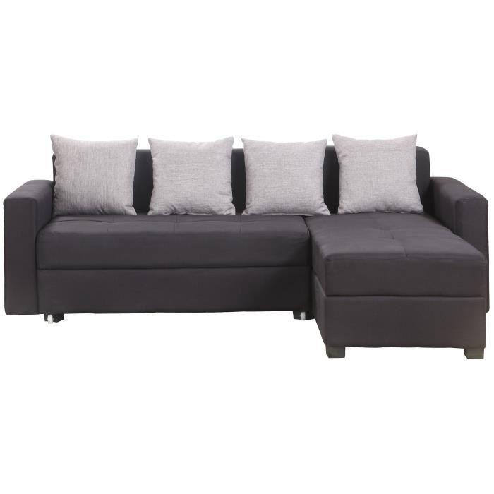 brixton canap d 39 angle droit convertible 3 places tissu noir l 219 x p 186 cm achat. Black Bedroom Furniture Sets. Home Design Ideas