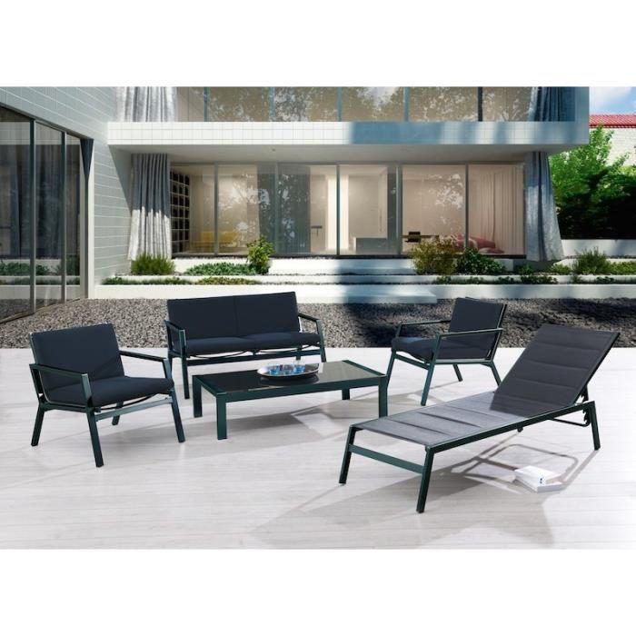 MIAMI Canapé 2 fauteuils table basse 128x10x32cm