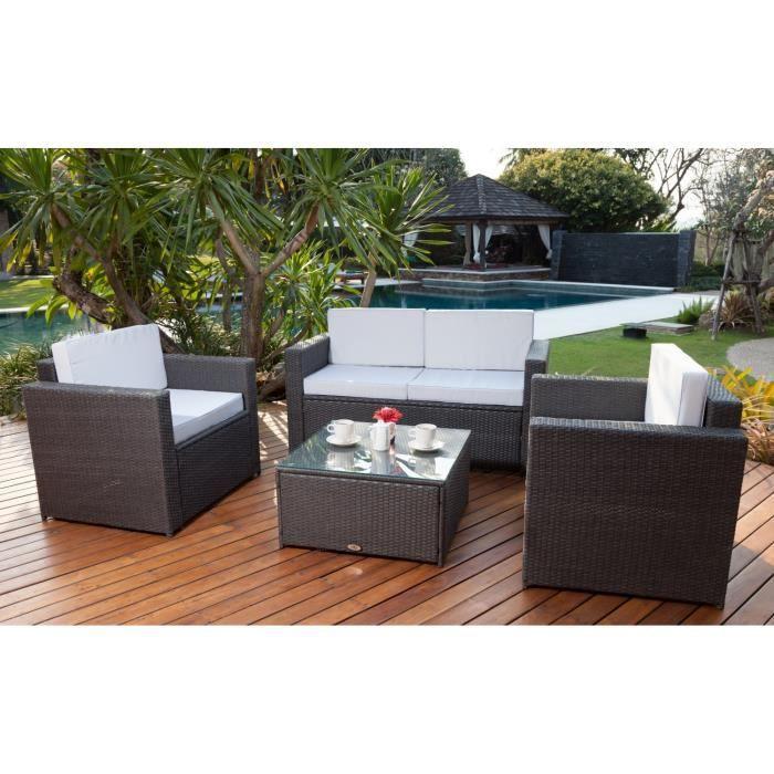 Bali Salon De Jardin 4 Places En R Sine Tress E Et Acier Gris Anthracite Achat Vente Salon