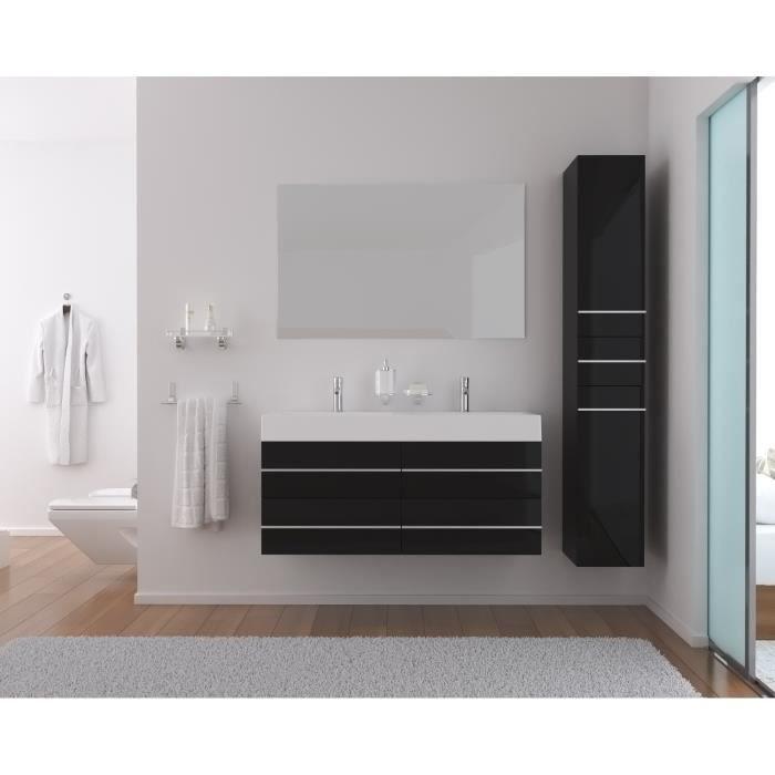 Loft salle de bain compl te double vasque 120cm noir for Soldes salle de bains
