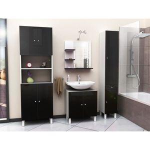 meuble salle de bain noir laque achat vente meuble. Black Bedroom Furniture Sets. Home Design Ideas