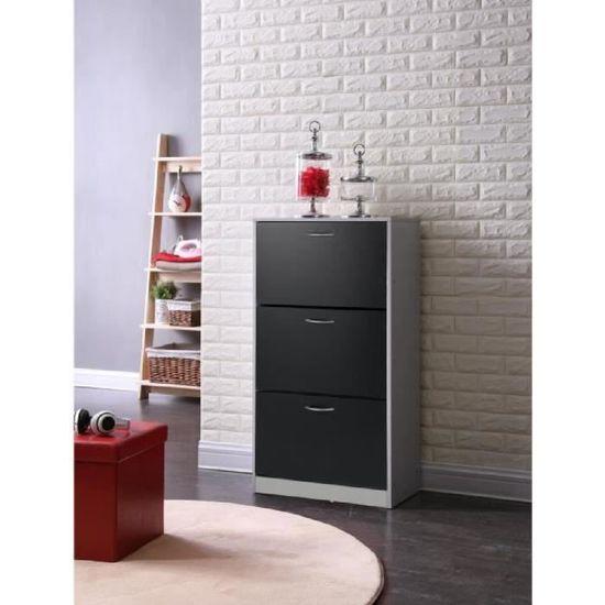 SCARPA Meuble à chaussures contemporain noir et gris clair mat - L 63 cm -  Achat   Vente meuble à chaussures SCARPA Meuble à chaussures - Cdiscount 5c88207c88f8