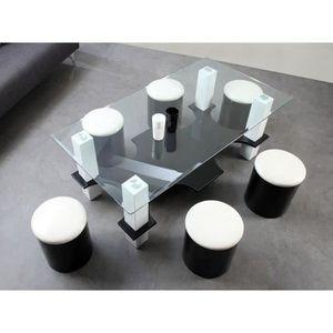 Table basse avec pouffe achat vente table basse avec pouffe pas cher bl - Table basse 6 poufs noir ...