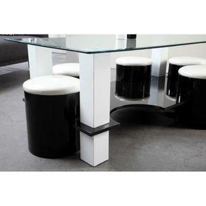 Table basse avec pouffe achat vente table basse avec - Table basse 6 poufs noir ...