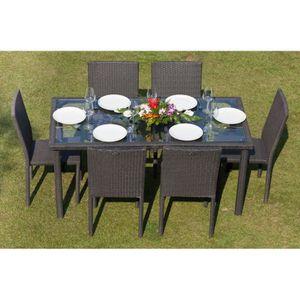 Table jardin avec trou parasol achat vente table for Ensemble salon de jardin en resine pas cher