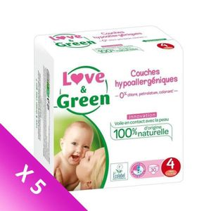 COUCHE LOVE & GREEN Couches Pack 1 Mois - Taille 4 - 150