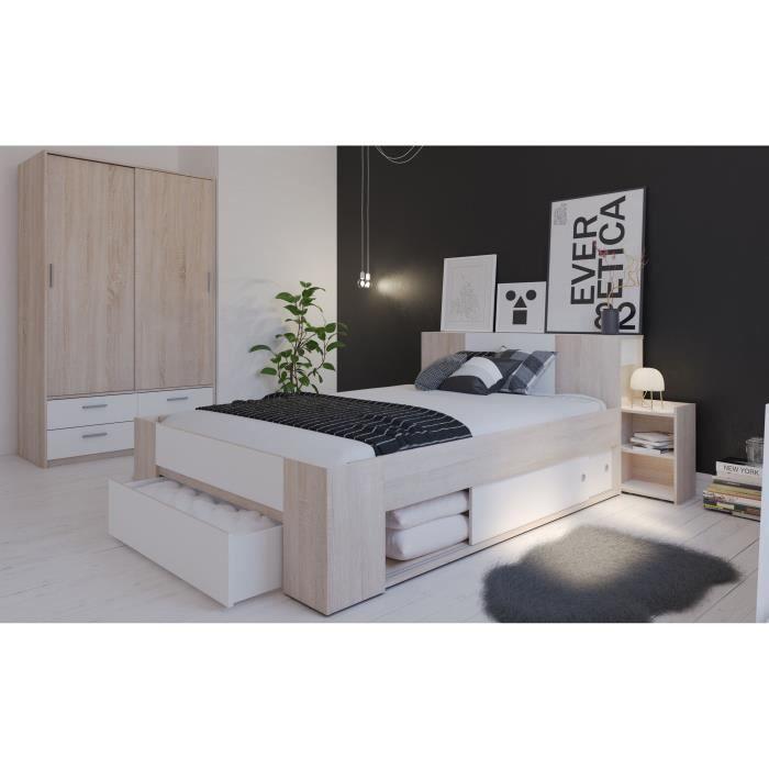 DETROIT Ensemble meubles de chambre contemporain décor chêne brossé ...