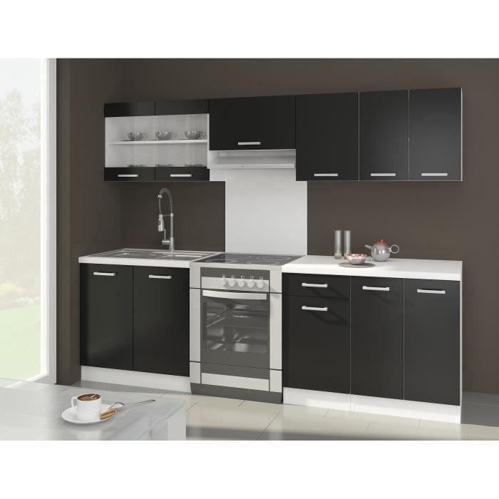 ultra cuisine complte l 2m40 noir mat o trouver loffre cuisine complete avec plan de travail - Cuisine Avec Plan De Travail