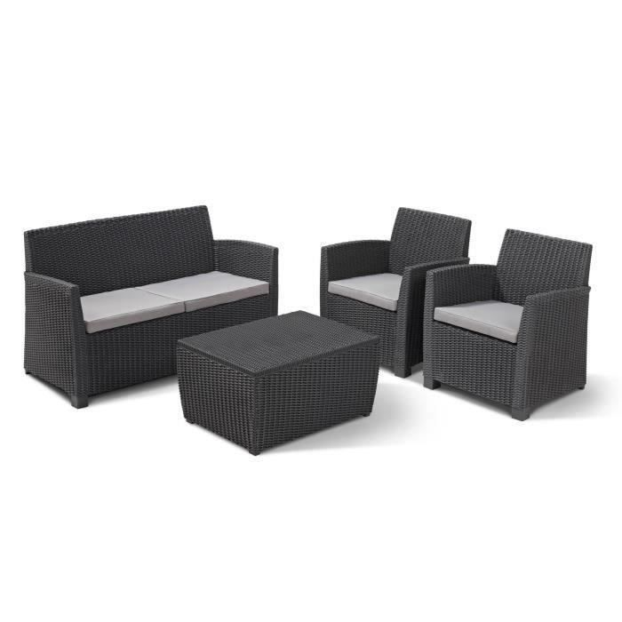 allibert salon de jardin corona 4 places imitation r sine tress e gris achat vente salon